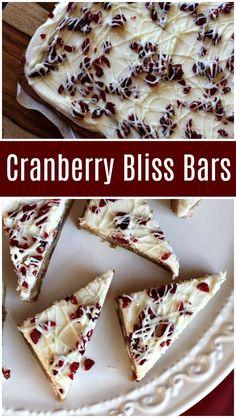 Easy recipe for Cranberry Bliss Bars- a copycat Starbuck's recipe: from RecipeGirl.com