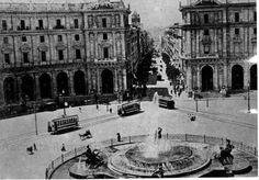 Piazza Esedra. Motrici 200 e 300 della SRTO Anno: 1908