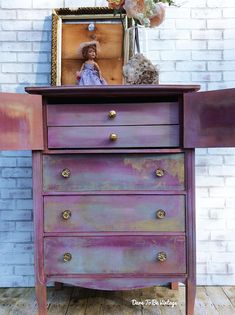 Bohemian Dresser Cabinet Painted Pink Dresser Painted