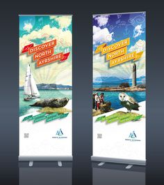 Roller banner designs to promote North Ayrshire as a tourist destination - Graphic Sonic Pull Up Banner Design, Standing Banner Design, Roll Up Design, Pop Up Banner, Tame Impala, Tradeshow Banner Design, Vinyl Banners, Roller Banners, Exhibition Banners