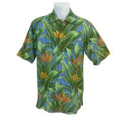 7000076b Tommy Bahama Vintage Fit Men's Blue Green Floral Aloha Hawaiian Shirt Size  Small #ReynSpooner #
