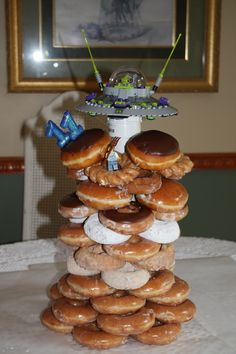 UFO Lego B'day Doughnut Cake - We found out what the kids favorite doughnuts were and made it assorted.