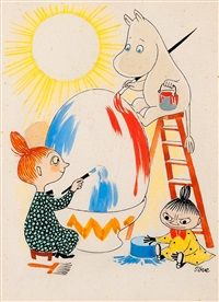 Moomin and the Mymble paint an Easter egg by Tove Jansson