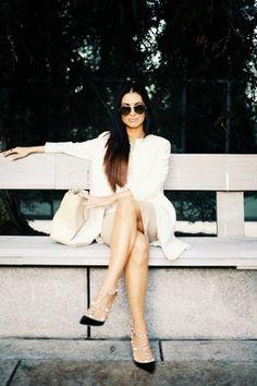 coat Zara coat - pencil skirt River Island skirt - black patent Valentino pumps