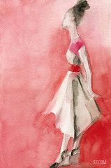 Fashion Art - White Dress with Red Belt Fashion Illustration Art Print by Beverly Brown Prints