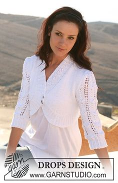 """107-27 Bolero in """"Paris"""" with puff sleeves in lace pattern by DROPS design"""
