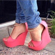 Hottest PU Metal Chain Wedge Sandals