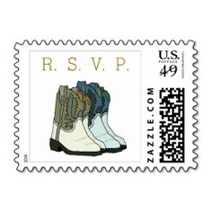 Rustic Country Wedding Boots Invitation RSVP Stamps