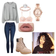 """""""ootd"""" by beautifullywild on Polyvore featuring MANGO, Topshop, Timberland, Michael Kors and Heidi Klum Intimates"""