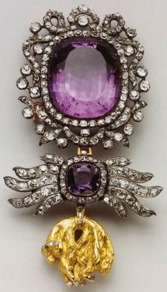 Golden Fleece Order, neck badge with diamonds and amethysts, 106 x 61mm, belonged to Karl Anselm, 4th Prince of Thurn and Taxis, Spada Collection.