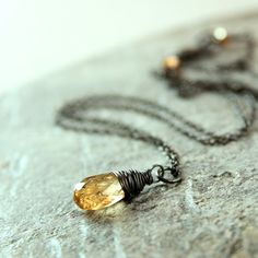 Yellow Topaz  Necklace  Sterling Silver   Oxidized    by hildes, $39.00