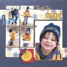 Winter Scrapbook Layout Ideas: Simple Shoveling Winter Scrapbook Page Scrapbooking 101, Scrapbook Page Layouts, Scrapbook Cards, Kids Scrapbook, Picture Layouts, Multi Picture, Christmas Scrapbook, Creative Memories, Scrapbooks