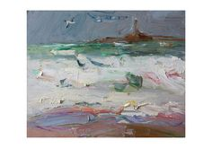 Stormy Sea and Seagul  Original Plein Air Oil Painting