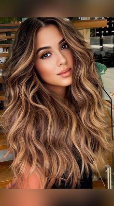 Brown Wavy Hair, Long Wavy Hair, Long Textured Hair, Dark Hair, Brown Hair With Blonde Highlights, Hair Highlights, Icy Blonde, Balayage Long Hair, Fall Balayage