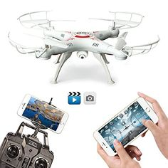 FengLan Remote Control Mode 4 Channel 2.4G 6-Axis Gyro RC Headless Quadcopter X5SW-1 Drone UAV with 2MP HD Wifi Camera (FPV) for Real Time Video Transmission (White) -- For more information, visit image link.
