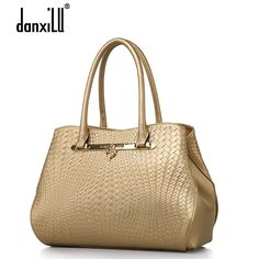 83.34$  Buy now - http://alizh0.worldwells.pw/go.php?t=32611711263 - 2016 spring and summer fashion knitted vintage genuine leather women handbag gold color shoulder bag ladies handbags female bags