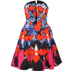Pre-owned Peter Pilotto Iris Strapless Dress ($97) ❤ liked on Polyvore featuring dresses, multi, floral pattern dress, layered dress, flower print dress, sleeveless dress and zipper dress