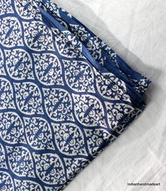10 yard Blue And White Soft Cotton Fabric Indian Block Print Light Weight Fabric #Handmade