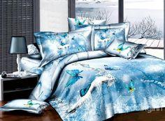 New Arrival 100% Cotton 3D Ice Blue Butterfly 4 Piece Bedding Sets/Duvet Cover Sets - beddinginn.com