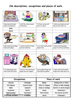 Job descriptions, occupations and places of work worksheet - Free ESL printable worksheets made by teachers English Grammar Book, English Vocabulary, English Language, Printable Preschool Worksheets, Worksheets For Kids, English Teaching Materials, Teaching English, English Lessons, Learn English