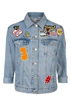 Oversize-Jacke mit Aufnähern Tall-Größe - Jacken & Mäntel - Bekleidung - Topshop