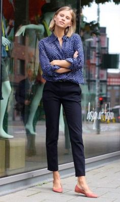 Simple Office Outfit Idea Black Pants Plus Shirt Plus Flats