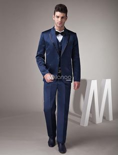 Fantastic Dark Blue Satin Groom Wedding Tuxedo. See More Groom Suits and Tuxedos at http://www.ourgreatshop.com/Groom-Suits-Tuxedos-C918.aspx
