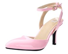 "Honeystore Women's Patent Leather Pointed Toe Stiletto Lace Up Sandal Pink 5.5 B(M) US. Patent leather. Bright candy colors. Simple design, but generous and grace. Mid-heel 3"", also provide customized 2.5"" and 3.6"" heel. Refer to amazon women's shoe sizing chart."