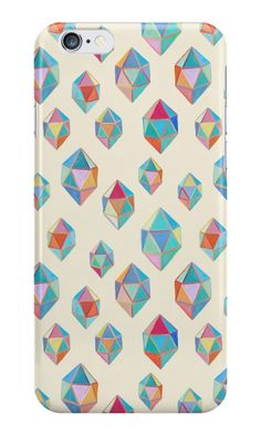"""Floating Gems - a pattern of painted polygonal shapes"" iPhone Cases by micklyn 