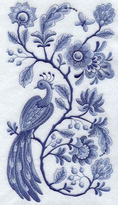 "Embroidered Delft Blue Peacock & Flowers Panel"" Quilt Block"