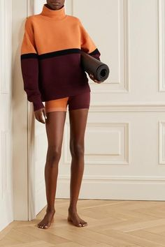 Nagnata + net sustain color-block ribbed organic cotton turtleneck sweater in orange; nagnata yoni technical-knit organic cotton-blend shorts in orange; Wish list and beautiful styles from NET-A-PORTER for designer shoes, bags, and cloth! Yoga Fashion, Fitness Fashion, Fashion Outfits, Dance Outfits, Sport Outfits, Cotton Slip, Cute Comfy Outfits, Orange, Lounge Wear