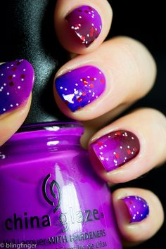 Purple gradient nail design