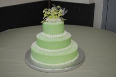 Mint Green and White Wedding Cake