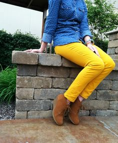 chambray, yellow jeans, wedge boots