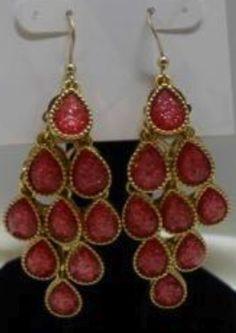 Style-Pink Chandelier Dangle Drop Earrings @Dazzily