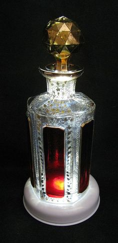 Moser Ruby Cabochon Scent Bottle with Gilt Stopper from sylarantiques on Ruby Lane