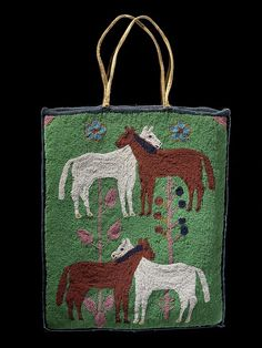 Handbag/Purse. Hide, glass bead/beads, wool cloth, cotton cloth, thread. Sewn, overlay beadwork. 34.7 x 28.2 cm. Nespelem. Usk, Kalispel Reservation; Pend Oreille County; Washington; USA. 1910-1920. Collected in 1925 by Willis W. Hardy (1903-1973, Mobil oil company employee); donated to MAI in 1961. NMAI.