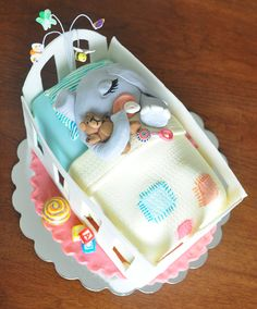 Elephant Baby Shower Cake   sleeping baby elephant baby shower cake chocolate cake with ganache ...