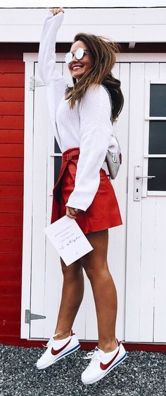 #fall #outfits women's white knitted top and red mini skirt outfit