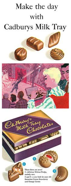 Make the day with Cadbury's Milk Tray. Ad - I very much disliked the Strawberry creme that's shown on this ad - yuk! I can taste it now ! Old Advertisements, Retro Advertising, Retro Ads, Vintage Sweets, Vintage Candy, Vintage Food, Chocolate Cafe, Cadbury Chocolate, Vintage Images