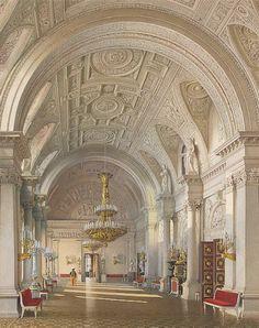 Виды залов Зимнего дворца. Белый зал. Л. Премацци. 1865 г