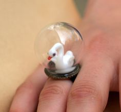 Tiny Terrarium Swan Ring ahhhh