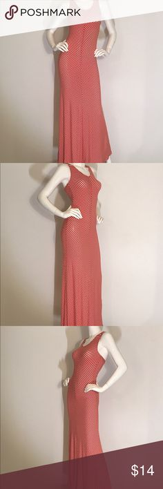 Women's- Maxi Red Dress Sleeveless Casual, Maxi Dress , Red Stripes , Open Back with Straps. New Hearts and Hips Dresses Maxi