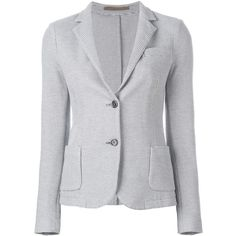 Eleventy Two Button Woven Blazer (1.075 BRL) ❤ liked on Polyvore featuring outerwear, jackets, blazers, grey, grey blazer, 2 button jacket, 2 button blazer, blazer jacket and eleventy