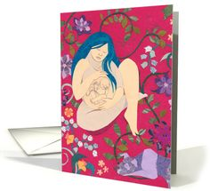 Pregnant Among Flowers with Dog for Mother-to-Be on Mother's Day card by Colleen Kong-Savage Mother's Day Greeting Cards, Mothers Day Cards, Savage, Holiday Cards, Dogs, Flowers, Gifts, Christian Christmas Cards, Presents