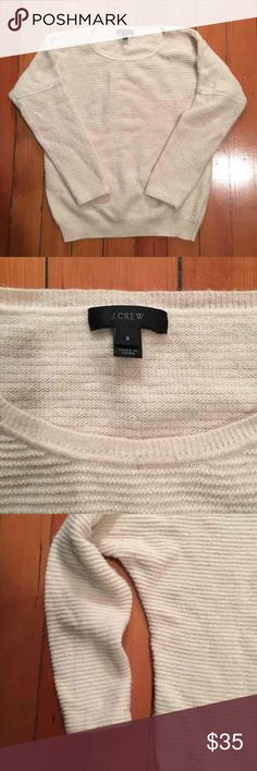 J. Crew Textured Cream Sweater Size Small Purchased from J. Crew last season. Worn but still in great condition; this sweater still has a lot of life in it! Great for winter layering! J. Crew Sweaters Crew & Scoop Necks