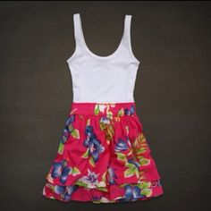 Abercrombie dress. White spaghetti straps top with floral bottom