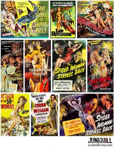 SHE MONSTER Collage Sheet  Vintage B-Movie Posters by JUNKMILL