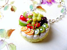 polymer clay food charms | Polymer Cake Necklace ,Fruit, Clay Food Charm Pendant, Fashion Beads ...