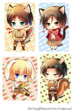 Eren / Mikasa / Armin / Levi / Attack on Titan Anime Chibi, Kawaii Chibi, Cute Chibi, Kawaii Anime, Anime Art, Armin, Eren And Mikasa, Levi X Eren, Levi Ackerman